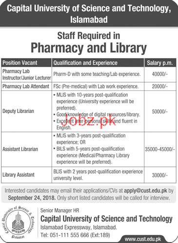 Capital University of Science & Technology CUST Jobs