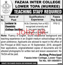 Fazaia Inter College Lower Topa Murree Lecturers Jobs