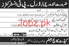 Cadet College Jhelum Jobs Open