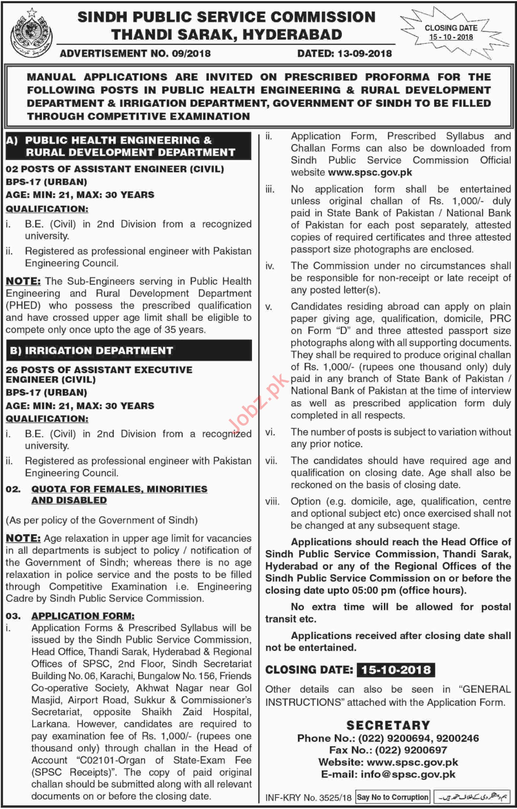 SPSC Irrigation Department Sindh Jobs by Executive Engineers