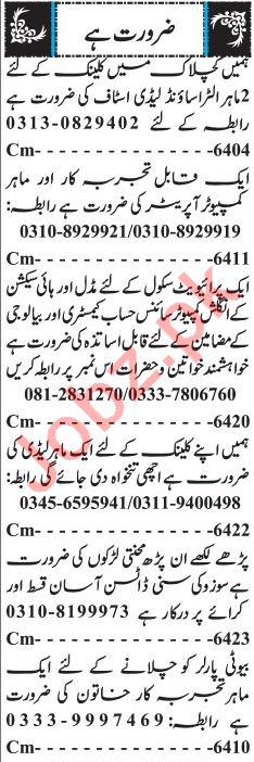Salesman, Teacher & Computer Operator Jobs 2018