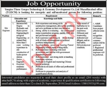 Yangtze Three Gorges Technology Muzaffarabad Engineer Jobs