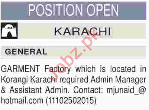 Garments Factory Karachi Jobs for Admin Manager