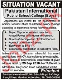 Pakistan International Public School Abbottabad Jobs 2018