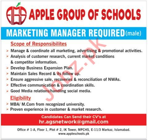 Apple Group of Schools Islamabad Jobs for Marketing Manager