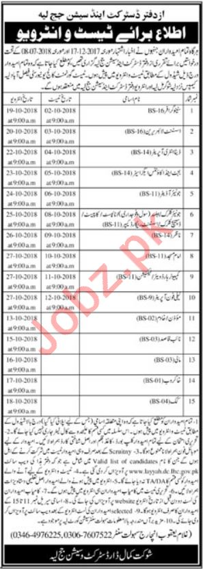 District & Session Court Layyah Jobs 2018 for Librarian