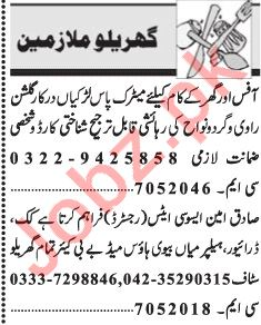 House Staff Jobs 2018 in Lahore
