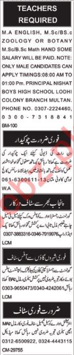 Teachers Jobs Open in Multan