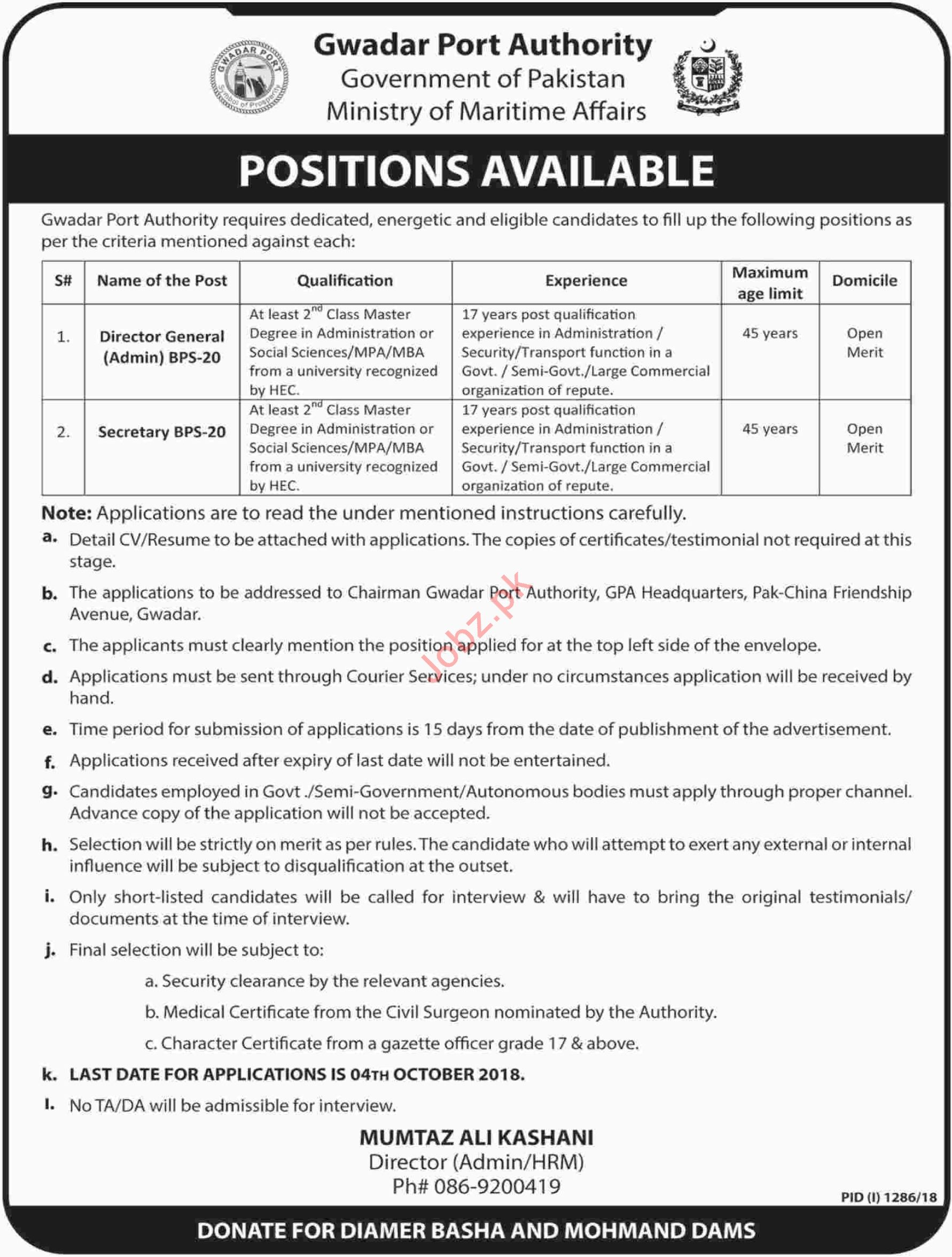 Gwadar Port Authority GPA Jobs for Director General Admin