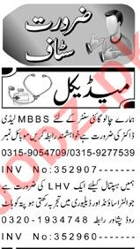 Lady Doctor & LHV Jobs 2018 in Peshawar