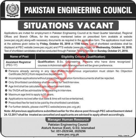 Pakistan Engineering Council PEC Islamabad Jobs 2018