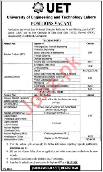 UET University Lahore Jobs 2018 for Professors & Directors