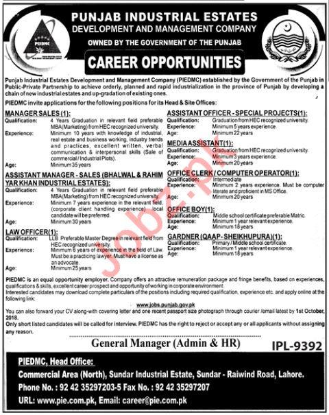 Punjab Industrial Estates Development PIEDMC Lahore Jobs