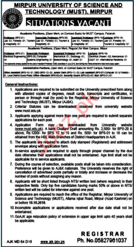 Mirpur University of Science & Technology MUST Jobs 2018