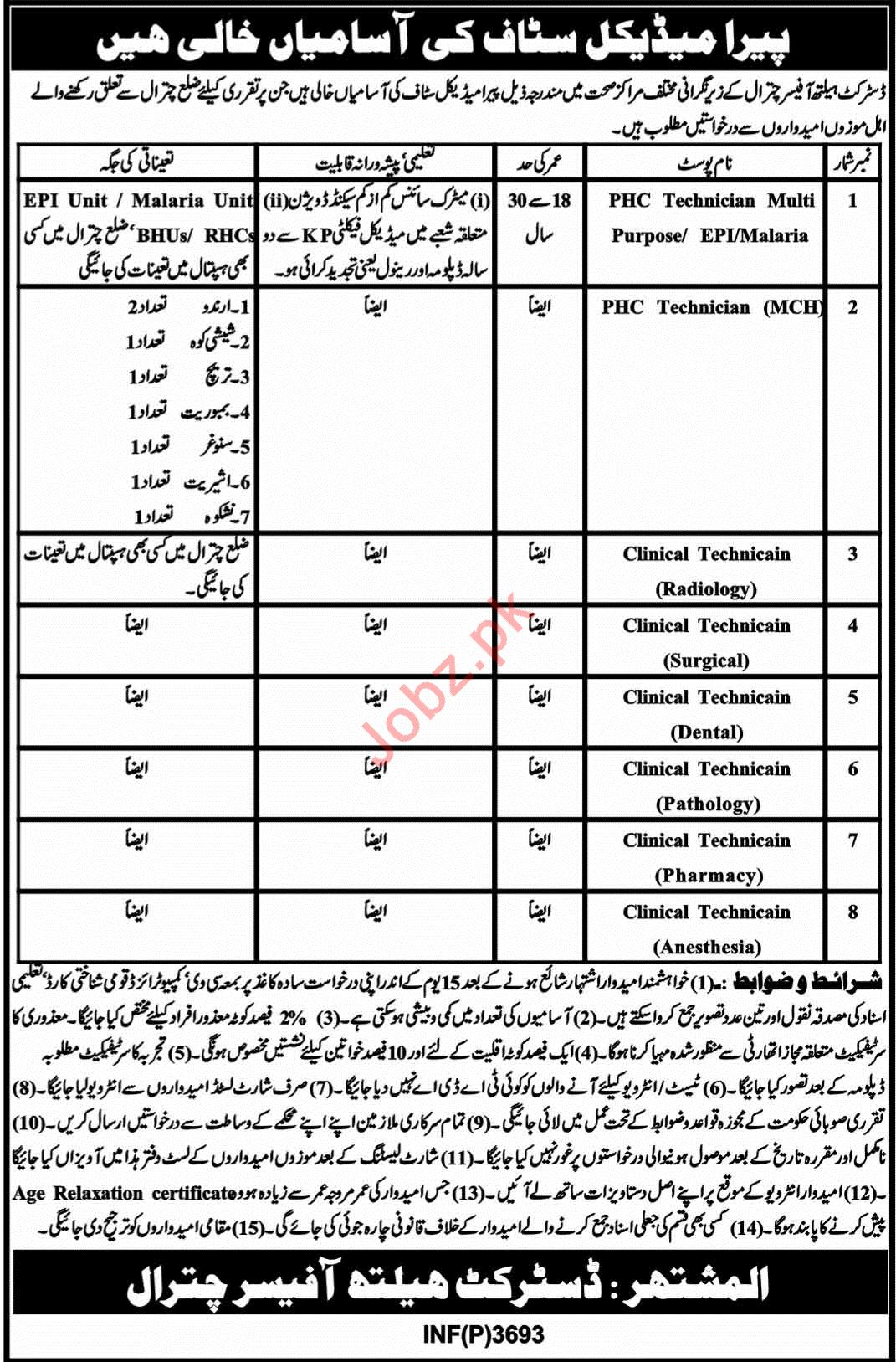 District Health Officer Chitral Clinical Technicians Jobs