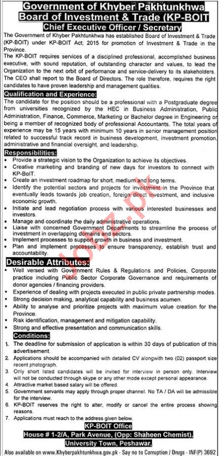 KP BOIT Peshawar Jobs 2018 for Business Executive