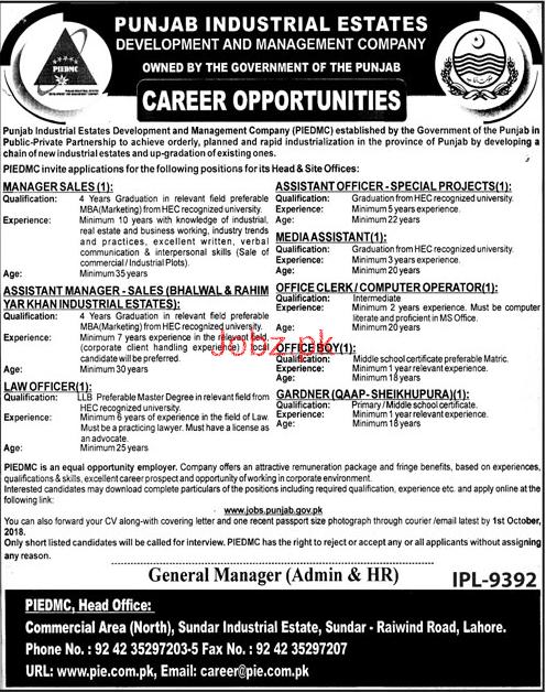 Punjab Industrial Estates Development Jobs