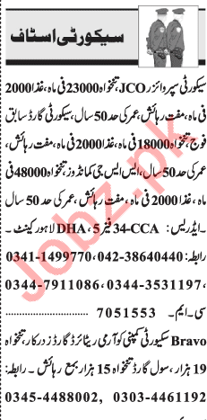 Security Jobs 2018 For Lahore