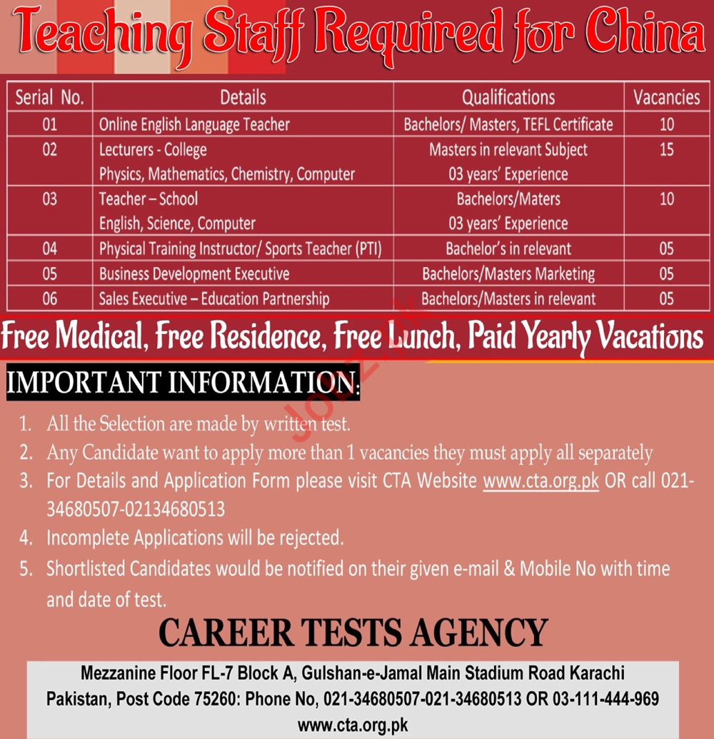 Teaching Jobs 2018 For China Through CTA