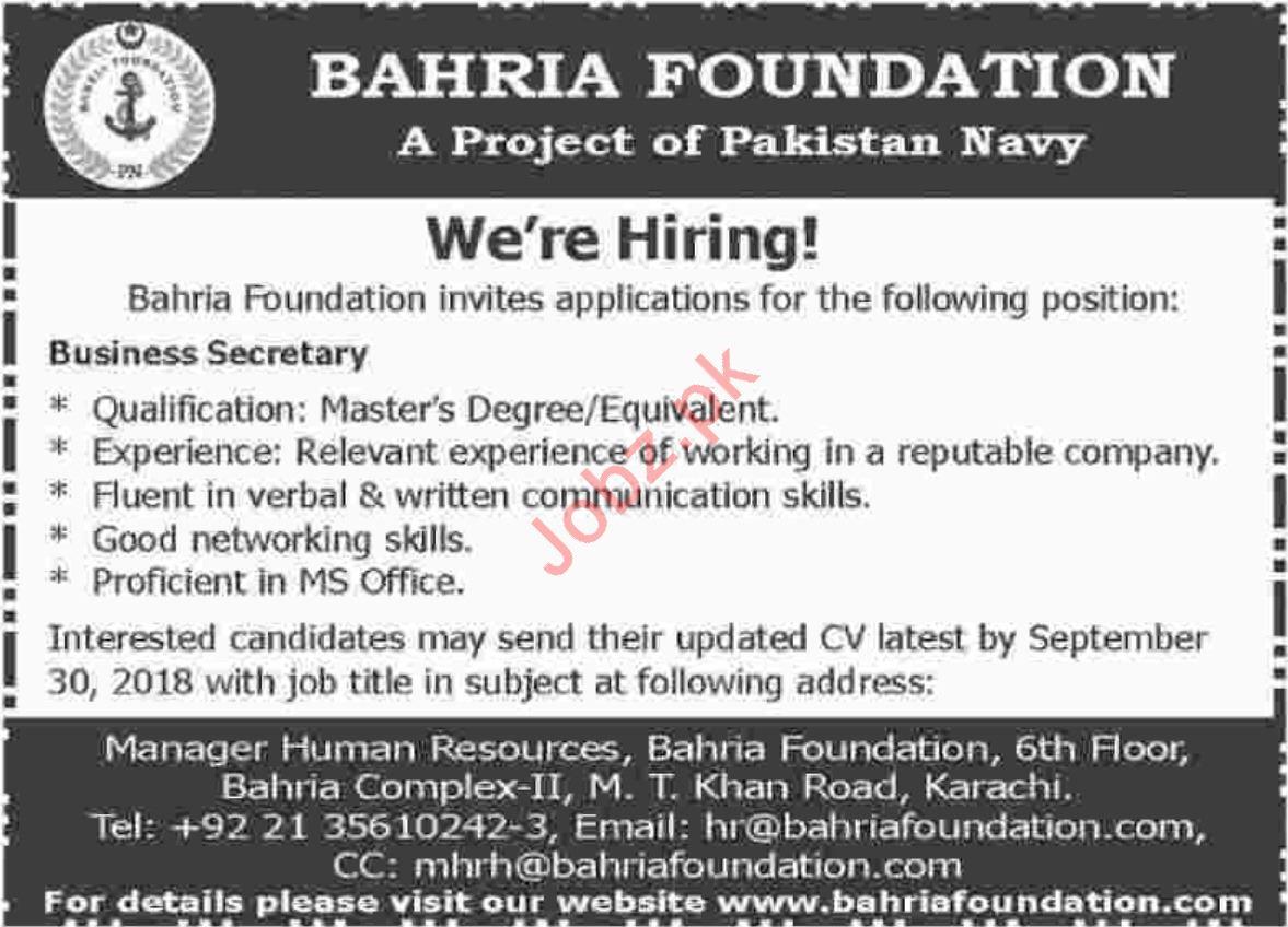 Business Secretary for Bahria Foundation