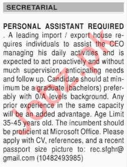 Dawn Sunday Classified Ads for Personal Assistant