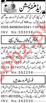 Aaj Sunday Classified Ads for Administration Staff