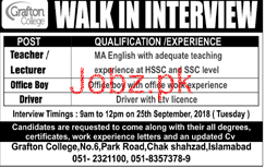 Grafton College Teacher, Lecturer, Office Boys Jobs 2019 Job