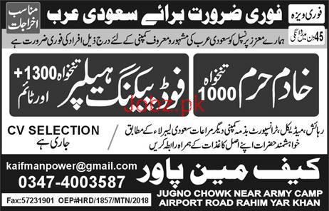 Khadim Haram and Food Packing Helpers Job Opportunity