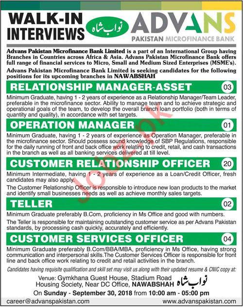 Advans Pakistan Microfinance Bank Walk In Interviews