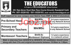 Pre School Head, Primary Teachers Job in The Educators