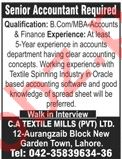 Senior Accountant for CA Textile Mills Pvt Ltd