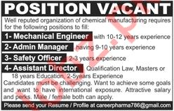 Mechanical Engineer for Chemical Manufacturing Company