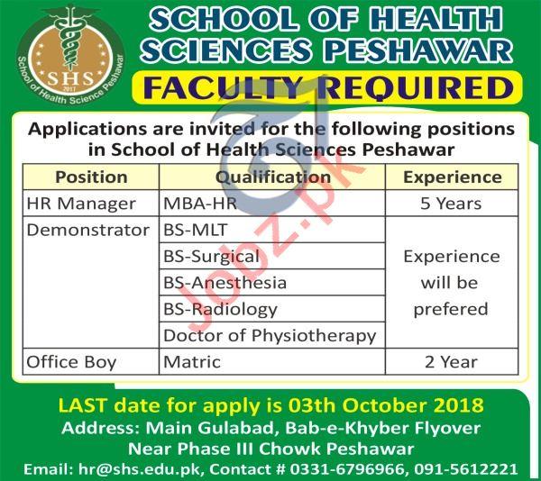 School of Health Sciences Peshawar Faculty Job 2018