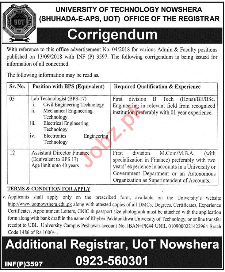 University of Technology Lab Technologist & Assistant Jobs