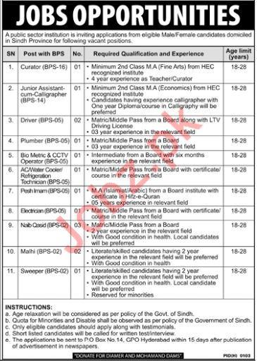 Public Sector Institution Jobs 2018 in Hyderabad