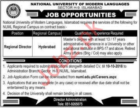 NUML Jobs 2018 Regional Director in Hyderabad