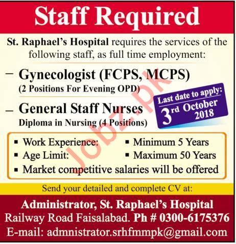 Gynecologist & General Staff Nurses Jobs 2018 in Faisalabad