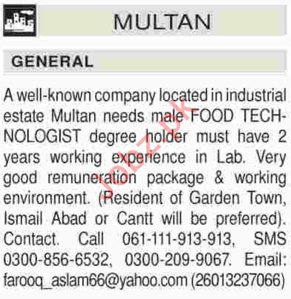 Food Technologist Jobs Career Opportunity