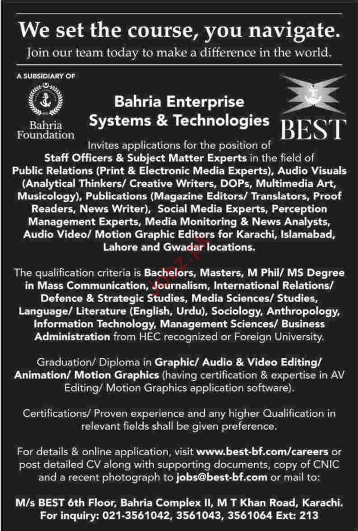 Bahria Foundation Sales Officers & Subject Matter Expert Job