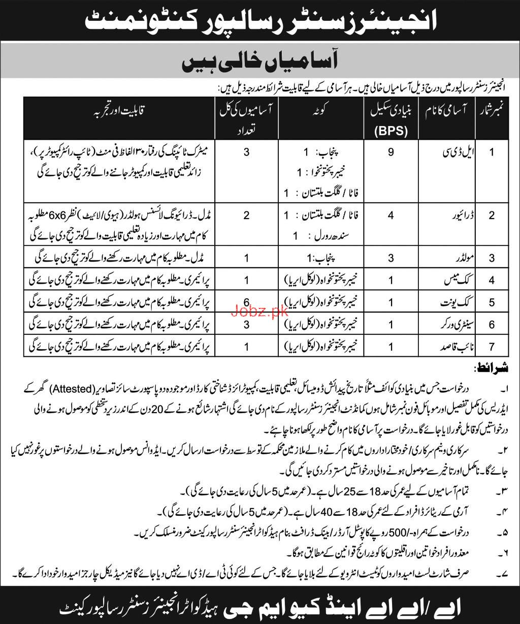 Engineer Center Risalpur Pakistan Army Jobs