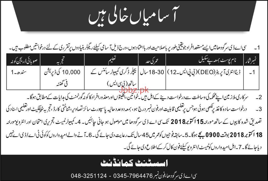 Data Entry Operators Job in CDA Sargodha