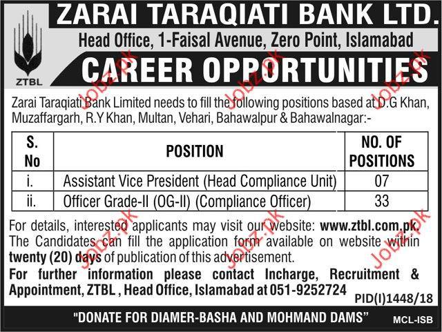 Assistant Vice President Jobs in Zarai Taraqiati Bank Ltd