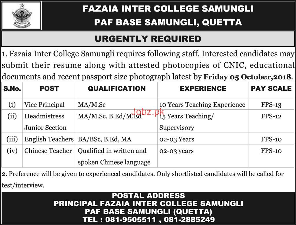 Fazaia Inter College  Samungli Quetta  Teacher Jobs
