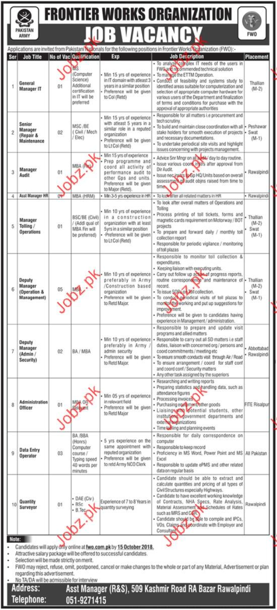 General Manager IT Jobs in Frontier Works Organization FWO