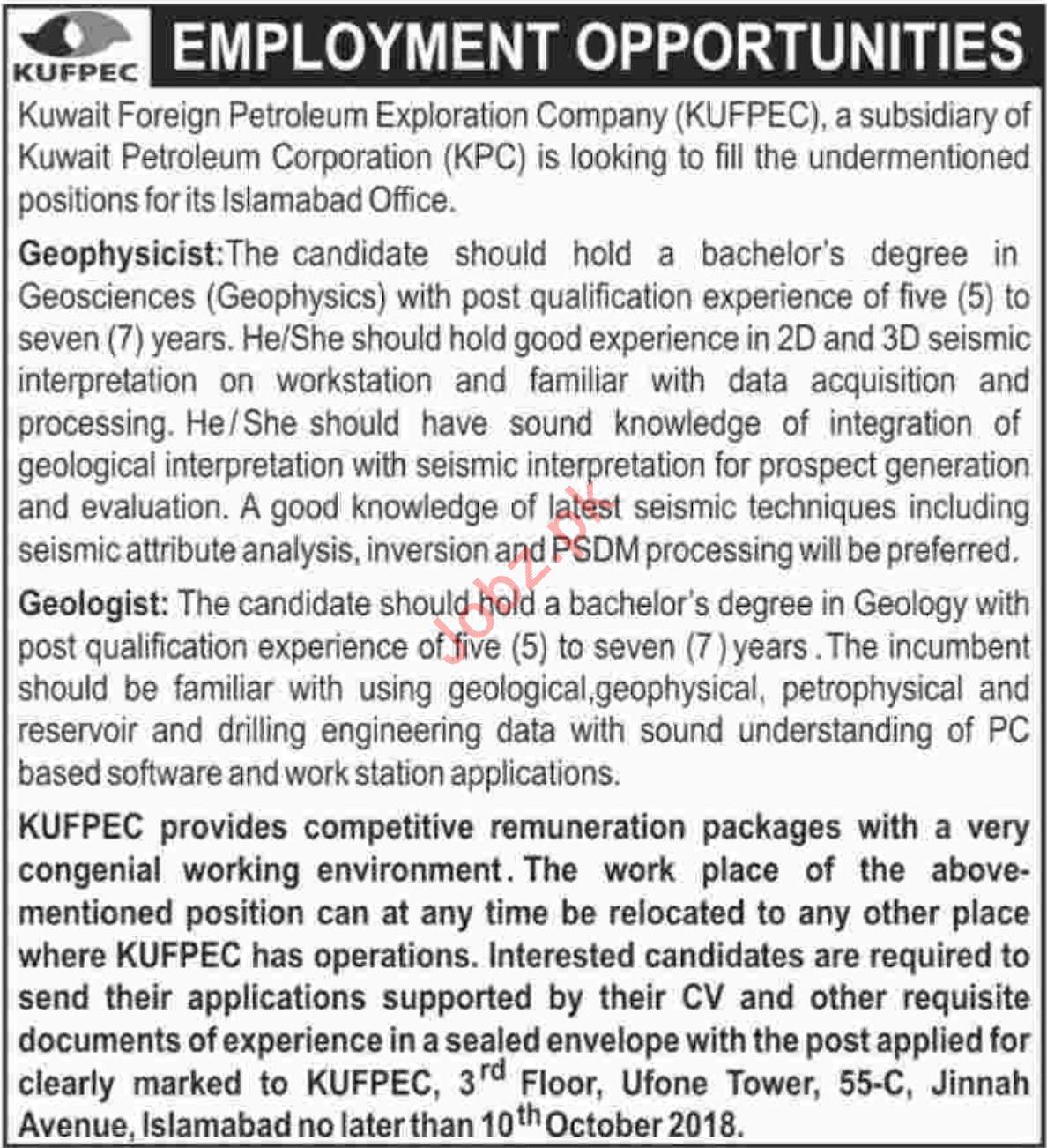 Geophysicist Jobs At KUFPEC 2019 Job Advertisement Pakistan
