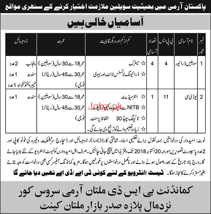 Pakistan Army Drivers, UDC JObs