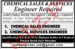 Chemical Sales and Service Engineer for Chemical Company 2019 Job