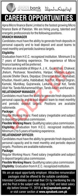 Apna Micro Finance Bank Limited Branch Manager Jobs