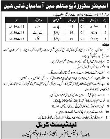 Engineers Store Depot Jhelum Pakistan Army Jobs 2019 Job
