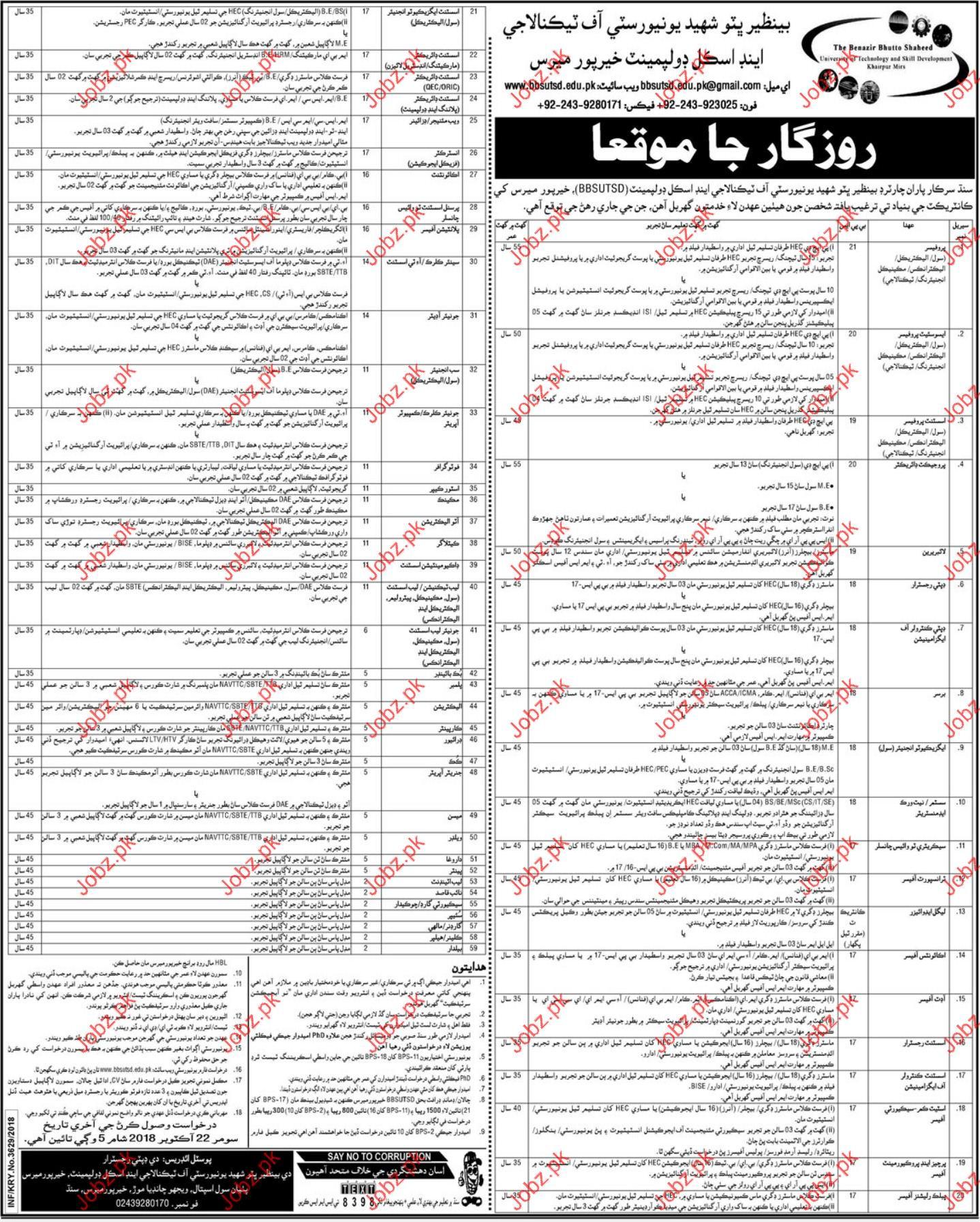 Professor Jobs in Benazir Bhutto University Of Technology